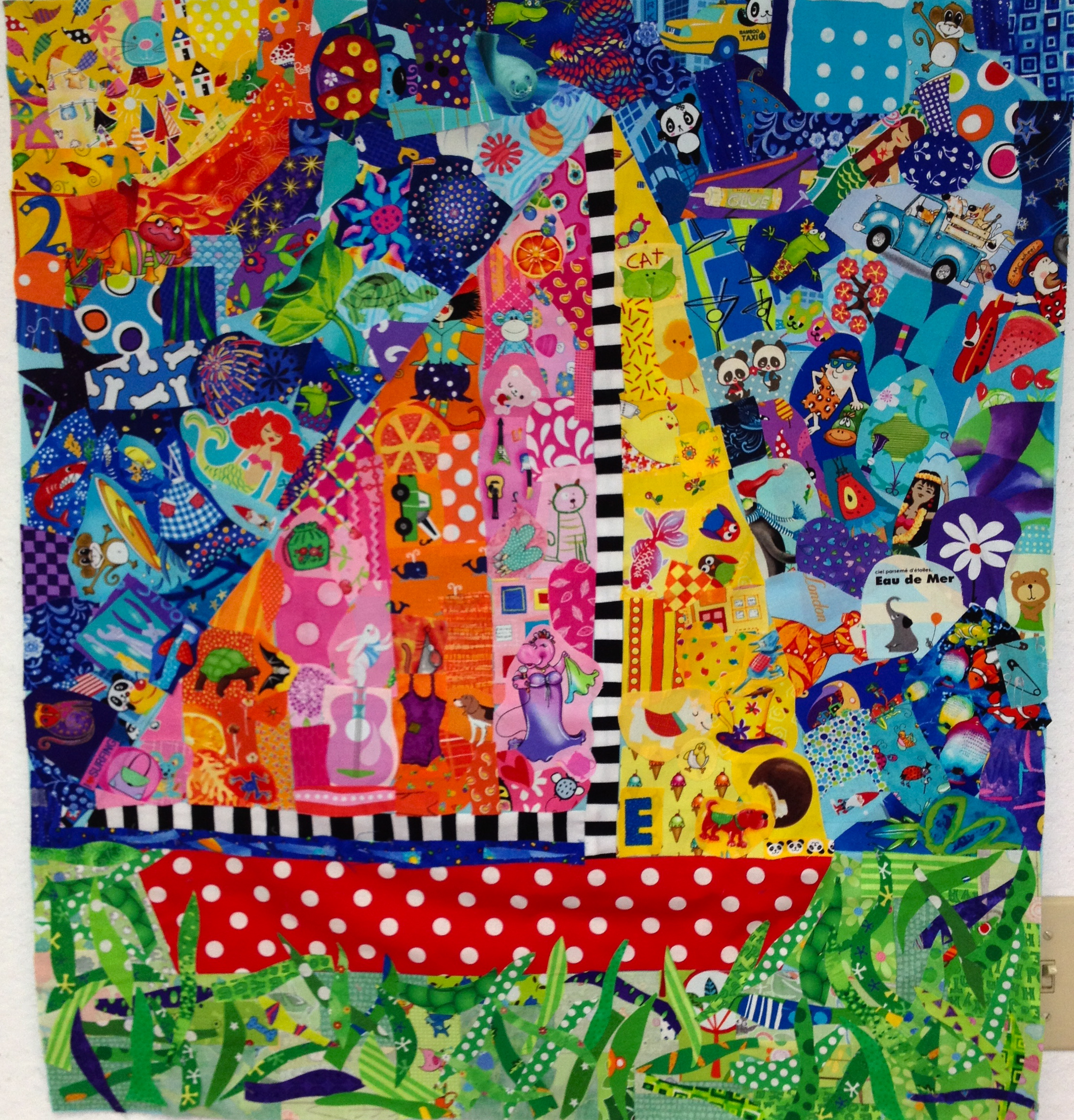 collage quilt talking lunchbox quilts